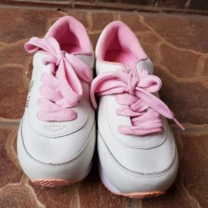 Volatile White and Pink Platform Sneakers